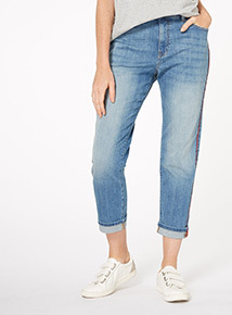 Denim Tipped Girlfriend Jeans