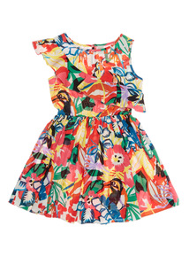 Multicoloured Tropical Pattern Dress (3 - 12 years)