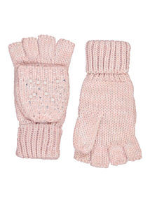 Pink Knitted Fold-Over Mitten Gloves