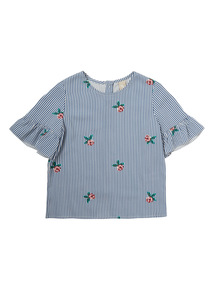 Girls Blue Striped Rose Top (3-12 years)