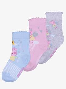 Peppa Pig Fairy Multicoloured Ankle Socks 3 Pack (3-12 Infant)