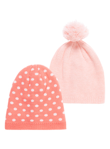 Girls Pink Spotty Beanies 2 Pack (1-12 years)