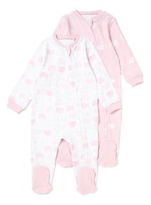 2 Pack Pink Zip Through Sleepsuits (Newborn - 24 months)
