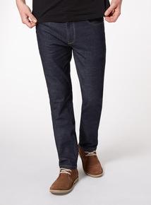 Dark Denim Straight Jeans With Stretch