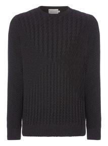 Black Patchwork Knit Jumper