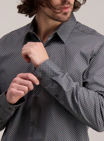 Charcoal Grey Daisy Print Regular Fit Shirt