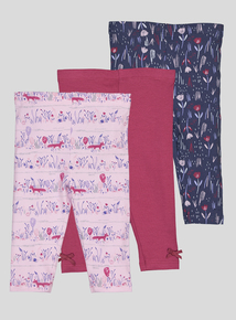 Multicoloured Floral Patterned Leggings 3 Pack (0-24 Months)