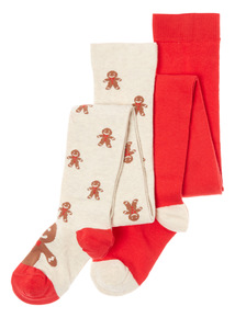 Multicoloured 2 Pack Christmas Gingerbread Men Tights (1 - 12yrs)