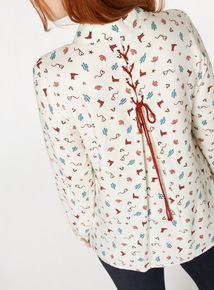 Cream Western Print Shirt