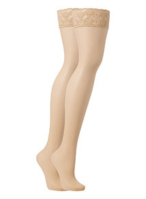 Natural Hypoallergenic Lycra Hold Up Stockings 15 Denier  2 Pack