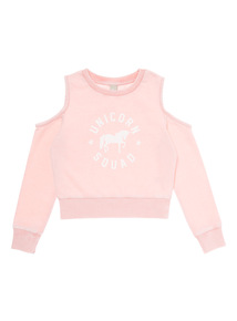 Pink Unicorn Cold Shoulder Sweat Top (3 - 12 years)