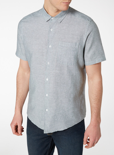 Green Chambray Linen Rich Regular Fit Shirt