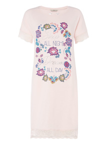 Pink Placement Blooms Nightdress
