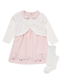 Floral Cardigan, Dress & Tights Set (0-24 months)