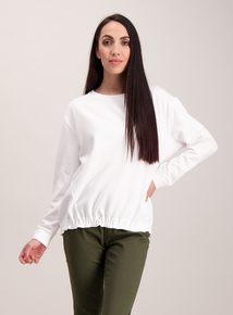 White Plain Ruched Sweatshirt