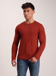 Burnt Orange Crew Neck Long Sleeve T-Shirt
