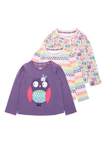 Girls Multicoloured Geometric Tees (0-24 months) 3 Pack