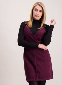 Purple Corduroy Pinafore Dress