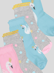 Multicoloured Swan Sock Set 5 Pack (Infant 3 months - 3.5 years)