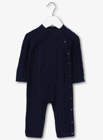 Navy Cable Knitted Romper (0-24 months)