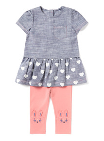 Blue Denim Top And Pink Leggings Set (0-24 months)