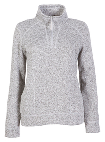 Grey Half Zip Funnel Neck Fleece