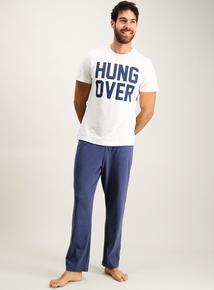 'Hung Over' Slogan Jersey Pyjamas