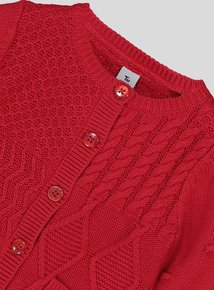 Red Cotton Patchwork Knitted Cardigan (9 months-6 years)