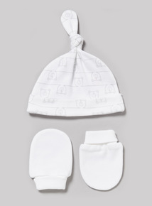 White Scratch Mitt and Tie Top Hat Set (Newborn - 12 months)
