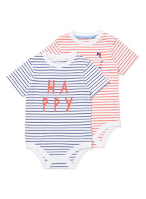 2 Pack Red and Blue Stripe Bodysuits (0-24 months)