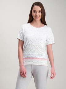 Cream Border Print Floral Pyjama Top 92b734f715