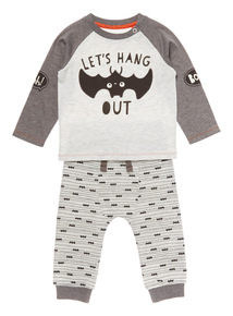 Grey Halloween Two Pack Bat Jogger and Top Set (0-24 months)