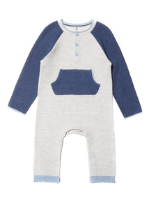 Grey Rib Knitted Romper (0-12 months)