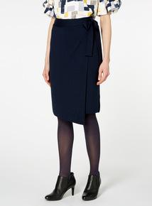 Navy Tie Front Pencil Skirt