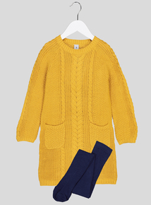 Yellow Cable Knit Jumper Dress With Tights (9 months - 6 years)