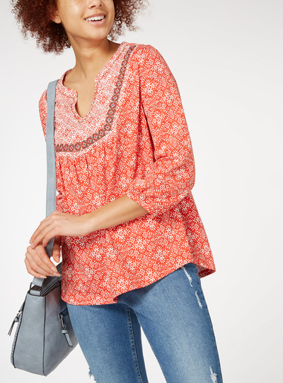 Tile Print Pintuck Top