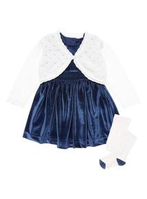 Girls Navy Christmas Dress 3 Piece Set (0-24 months)