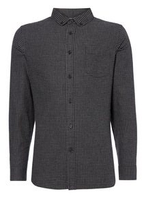 Black Mini Gingham Check Shirt