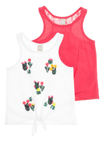 Multicoloured Cactus Tie Front Vests 2 Pack (3 - 12 years)