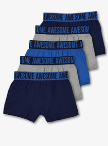 Blue & Grey Trunks 5 Pack (3-14 Years)