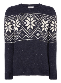 Navy Fairisle Border Jumper