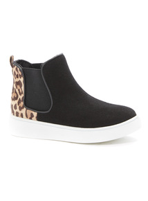 Black Leopard Chelsea High Top Boots