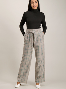 Multicoloured Check Belted Wide Leg Trousers