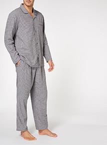 Grey Gingham Flannel Pyjama Set