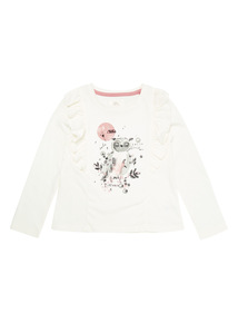 White Owl Print Top (9 months-6 years)