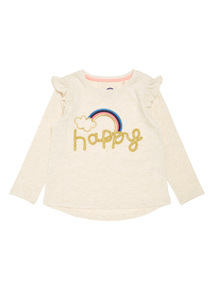 Cream Happy Embroidered Tee (9 months-6 years)