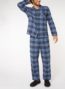 Navy Checked Traditional Pyjama Set