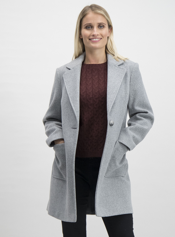 factory outlets distinctive style cute SKU: SMART CROMBIE COAT:Grey