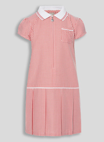 Red Sporty Gingham Dress (3 - 12 years)