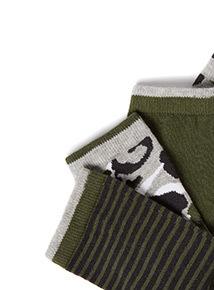 5 Pack Green Camo Print Socks (3 infant - 6.5 adult)